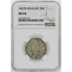 1847B Hungary 20 Kreuzer Coin NGC MS64