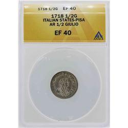 1718 Italian States-Pisa 1/2 Giulio Coin ANACS XF40