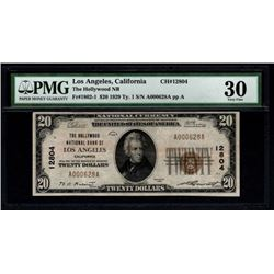 1929 $20 Los Angeles National Bank Note PMG 30