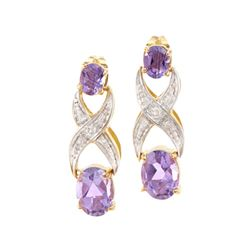 Plated 18KT Yellow Gold 2.72ctw Amethyst and Diamond Earrings