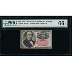 25 Cent Fifth Issue Fractional Note PMG 66EPQ