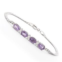 Plated Rhodium 2.75ctw Amethyst and Diamond Bracelet