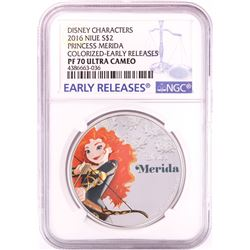 2016 Proof $2 Disney Princess Merida 1oz Silver Coin NGC PF70 Ultra Cameo