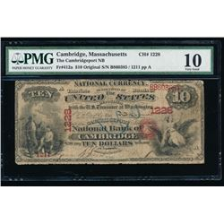1865 $10 Cambridge National Bank Note PMG 10