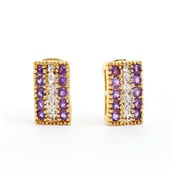 Plated 18KT Yellow Gold 1.02ctw Amethyst and Diamond Earrings