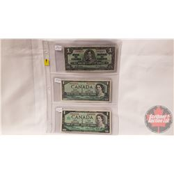 Canada $1 Bills (3): 1937; 1954; 1967 (See Pics for Signatures/Serial Numbers)