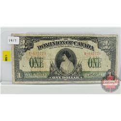 Dominion of Canada $1 Bill 1917 S/N#M617770