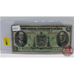 The Royal Bank of Canada $5 Bill 1935 S/N#1881444