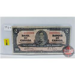 Canada $2 Bill 1937 Gordon/Towers S/N#YB1103564