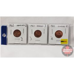 Canada One Cent - Strip of 3: 1962; 1963; 1964 (Hanging 2, 3, 4 : See Pics)