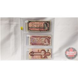 Canada $2 Bills (3): 1954; 1974; 1986 (See Pics for Signatures/Serial Numbers)