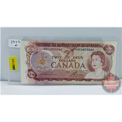 Canada $2 Bill 1974 Replacement : Lawson/Bouey S/N#*RE6853066
