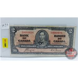 Canada $2 Bill 1937 Coyne/Towers S/N#HR0660694