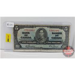 Canada $5 Bill 1937 Gordon/Towers S/N#OC7032483
