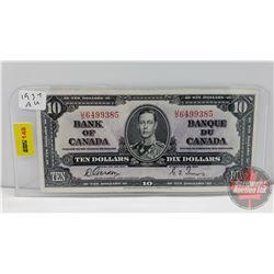 Canada $10 Bill 1937 Gordon/Towers S/N#UD6499385