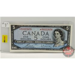 """Canada $5 Bill """"Replacement"""" 1954 : Bouey/Rasminsky S/N# *BX0322076"""