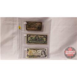 "Canada Bills - Variety (3): Dominion of Canada ""Shinplaster"" Twenty Five Cent 1900; $1 Bill 1937; $1"