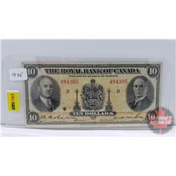 The Royal Bank of Canada $10 Bill 1935 S/N#494305