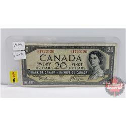 Canada $20 Bill 1954 DF : Beattie/Coyne S/N#CE1722126