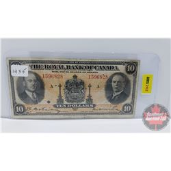 The Royal Bank of Canada $10 Bill 1935 S/N#1596828