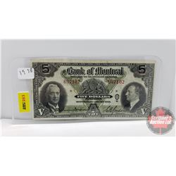 Bank of Montreal $5 Bill 1938 S/N#697102