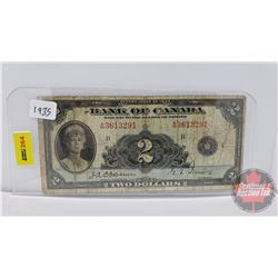 Bank of Canada $2 Bill 1935 S/N#A3613291