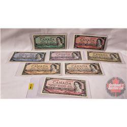 Canada Bills 1954 Series (8 Bills) : $1; $2; $5; $10; $20; $50; $100; $1000 (See Pics for Signatures