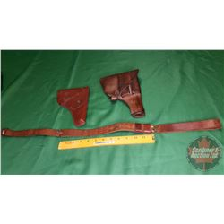 Tray Lot: Leather Pistol Holsters (2) 1 Strap