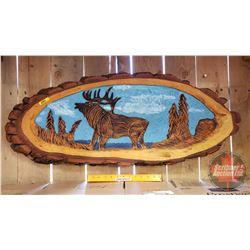 """Tree Trunk Artwork - Carved Elk (37""""L)"""
