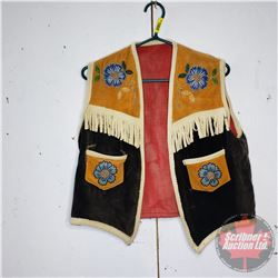 Fabric & Beaded Vest - Hand Made (Small/Medium?)