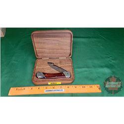 """Ducks Unlimited Schrade Knife """"Skoal inc/Mohawk Proud Sponsor"""" in Case"""