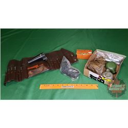 Variety Box Lot: Pistol Grip, Co2 Cartridges, 270 Win Dies, Bore Sighter, SKS Bottles