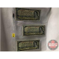 Canada $20 Bills 1954 DF (3): Coyne/Beattie BE4892294 ; Beattie/Coyne EE1472661 ; Beattie/Coyne EE10