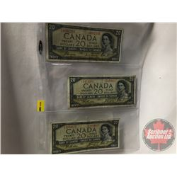 Canada $20 Bills 1954 DF (3): Coyne/Beattie BE4892294 ; Beattie/Coyne EE1472661 ; Beattie/Coyne EE10
