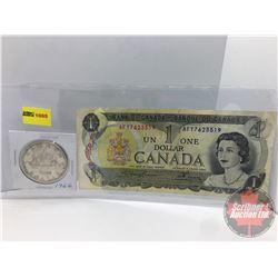 Canada Silver Dollar 1966 & $1 Bill 1973 Lawson/Bouey AFY7623519: