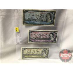 Canada Bills 1954 Beattie/Rasminsky (3) : $5 FS8965128 ; $10 MT3083593 ; $20 DW0419657