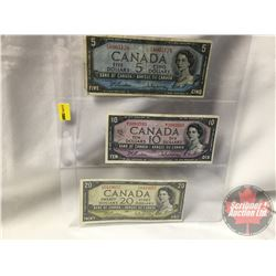 Canada Bills 1954 Beattie/Rasminsky (3) : $5 FS8965128 ; $10 MT3083593 ; $20 DW0419657