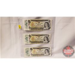 Canada $1 Bills (6) : (2 Sequential BCB8423775-76) (2 Sequential AAM9870714-15) (2 Close BCB8421835