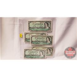 Canada $1 Bills 1954 (5) (See Pics for Signatures & Serial Numbers)