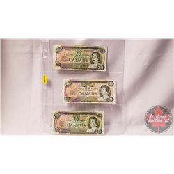 Canada $20 Bills (3): 1969 Lawson/Bouey WM5857902 ; 1979 Thiessen/Crow 52521002891 ; 1969 Beattie/Ra