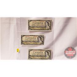 Canada $20 Bills (3): 1954 Beattie/Rasminsky ZE3517162; FW7968790; DW4169101