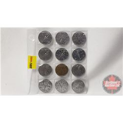Canada Five Cent - Wartime (12): 1944; 1945; 1944; 1944; 1943 Tombac; 1944; 1945; 1945; 1945; 1945;