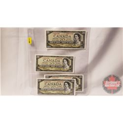 Canada $20 Bills 1954 Beattie/Rasminsky (4 Sequential) PE8492547/48/49/50 (See Pics for Signatures &