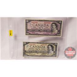 Canada Bills 1954 (2): $10 Beattie/Rasminsky YT8287528 ; $20 Beattie/Coyne IE8961365