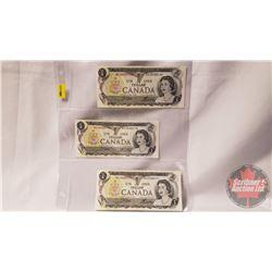 Canada $1 Bills 1973 (3 Sequential) Crow/Bouey BAJ4435169/70/71