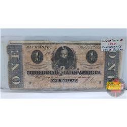 Confederate States of America ONE Dollar Bill Feb 17th 1864 (No. 23190 ?)