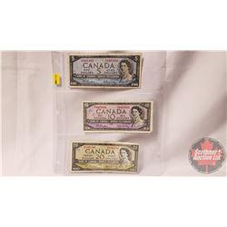Canada Bills (3) 1954 Beattie/Rasminsky : $5 Bill TS6401480; $10 Bill RV8465004; $20 Bill GW8241241