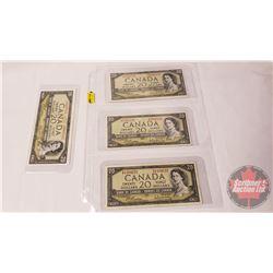 Canada $20 Bills 1954 Beattie/Rasminsky (4): GW3807612; GW3866731; GW7502239; GW1164137
