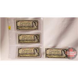 Canada $20 Bills 1954 Beattie/Rasminsky (4): EW4364791; EW5111372; SE1477100; FW6562949