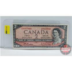 Canada $2 Bill 1954 Beattie/Rasminsky YR0007840 (Low Serial Number)